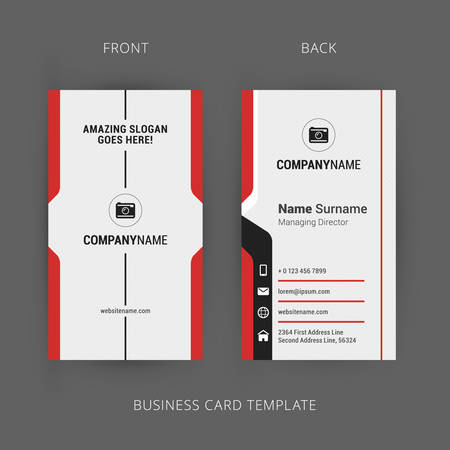 Creative and Clean Business Card Template. Vertical Template Çizim