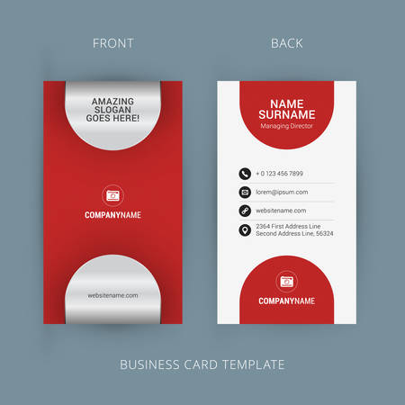 business card template: Creative and Clean Business Card Template. Black and Red Colors