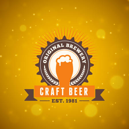 beer drinking: Retro Vintage Beer  Design Element. Vector Illustration