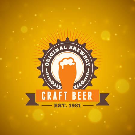 beer foam: Retro Vintage Beer  Design Element. Vector Illustration