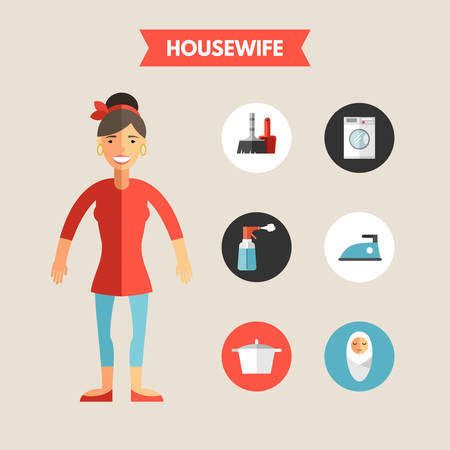 wash hand stand: Flat Design Vector Illustration of Housewife with Icon Set. Infographic Design Elements