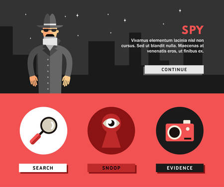 shadowing: Profession Concept. Spy. Flat Design Concepts for Web Banners and Promotional Materials