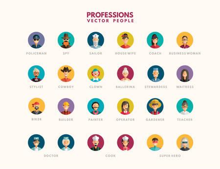 Flat Design Professional People Avatar Icon Set.