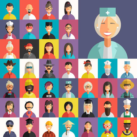 Flat Design Vector Colorful Background. Different Professional People Characters. Female, Male