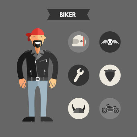 man head: Flat Design Vector Illustration of Biker with Icon Set. Infographic Design Elements