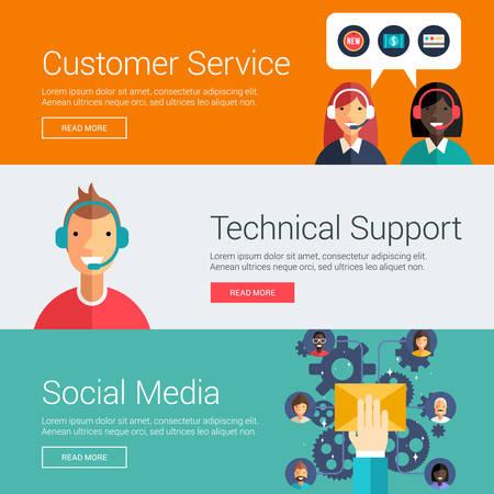 Servicio al Cliente. Soporte técnico. Medios de comunicación social. Conceptos de ilustración vectorial de diseño plano para banners web y materiales promocionales Ilustración de vector