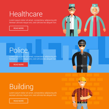 buliding: Healthcare. Police. Buliding. Flat Design Vector Illustration Concepts for Web Banners and Promotional Materials