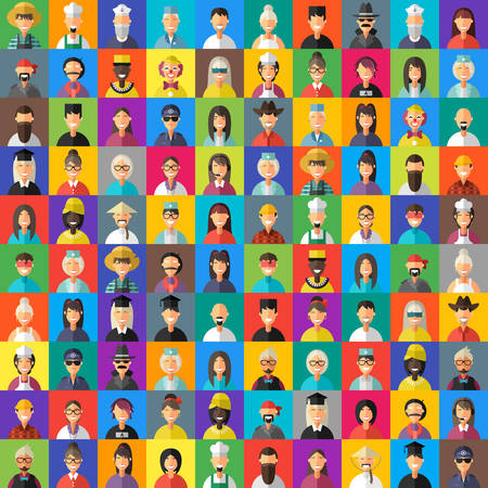 mob: Flat Design Style Vector Avatar Background. Different People Professions, Female, Male