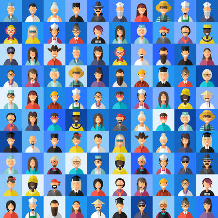 Flat Design Style Vector Avatar Background. Different People Professions, Female, Male
