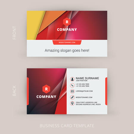 Creative and Clean Business Card Template with Material Design Abstract Colorful Background Illustration