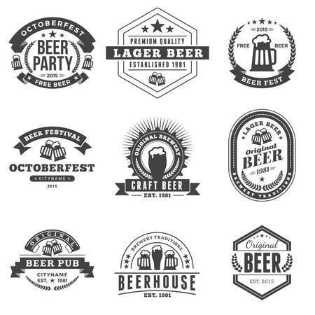 jarra de cerveza: Conjunto de Retro Vintage cerveza, Etiquetas, Logos. Ilustración blanco y negro del vector Vectores