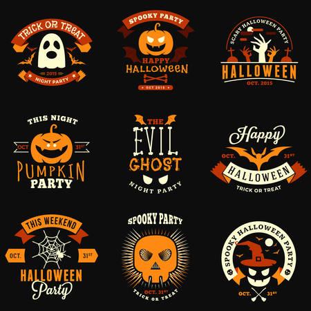 Set of Retro Vintage Halloween Badges, Labels. Halloween Night Party. Vector Illustration