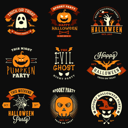 Set of Retro Vintage Halloween Badges, Labels. Halloween Night Party. Vector Illustration