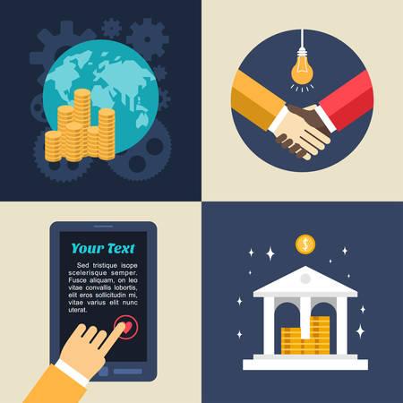 favourite: Set of Flat Design Vector Business Illustrations. Global Economics, Bank, Partnership, Adding to Favourite