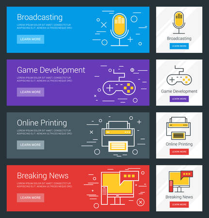 development: Broadcasting. Game Development. Online Printing. Breaking News. Flat Design Concept. Set of Vector Web Banners