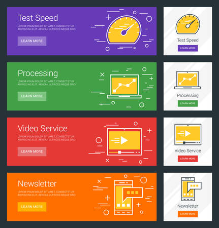 speed test: Test Speed. Processing. Video Service. Newsletter. Flat Design Concept. Set of Vector Web Banners Illustration
