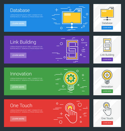 link building: Database. Link Building. Innovation. One Touch. Flat Design Concept. Set of Vector Web Banners Illustration