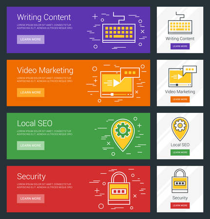 content writing: Writing Content. Video Marketing. Local SEO. Security. Flat Design Concept. Set of Vector Web Banners