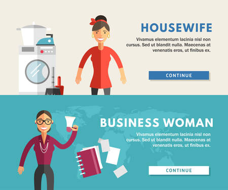 wash hand stand: Profession Concept. Business Woman and Housewife. Flat Design Concepts for Web Banners and Promotional Materials Illustration