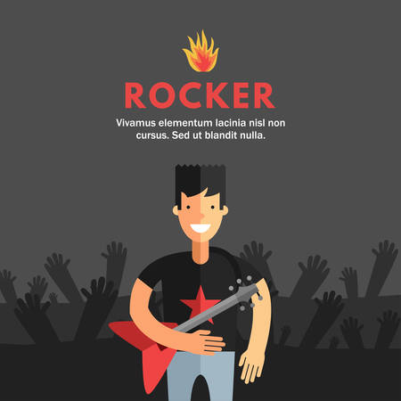 electrical materials: Rock Musician Playing Electrical Guitar. Flat Design Concepts for Web Banners and Promotional Materials