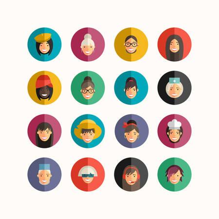 smile face: Flat Design Professional People Avatar Icon Set.  Women Set.  Cook, Teacher, Superwoman, Doctor, Dancer, Rocker, Waitress, Farmer