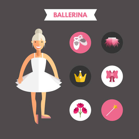 hand knot: Flat Design Vector Illustration of Ballerina with Icon Set. Infographic Design Elements Illustration