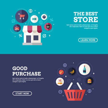 web store: The Best Store. Good Purchase. Set of Flat Design Concepts for Web Banners and Promotional Materials