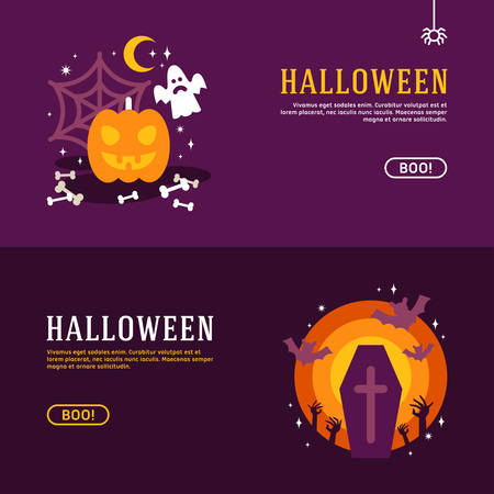 banners web: Set of Halloween Web Banners. Design Concepts for Web Banners and Promotional Materials