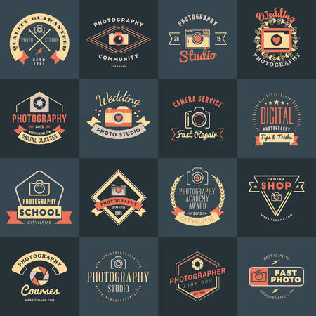 Vector Set of Photography Logo Design Templates. Photography Retro Vintage Badges and Labels.  Wedding Photography. Photo Studio. Camera Shop. Photography Community