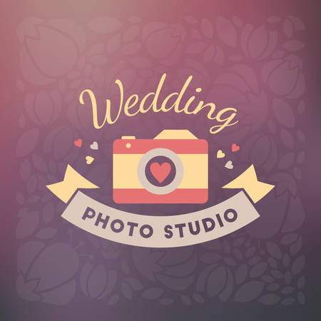 photography logo: Vector Photography Logo Design Template. Retro Badge or Label.  Wedding Photography