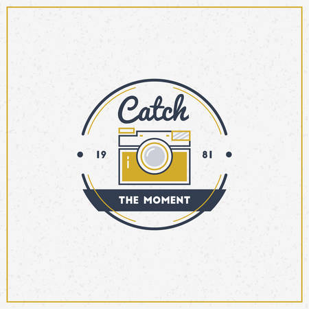 'catch the moment': Vector Photography Logo Design Template. Retro Badge or Label.  Photo Studio