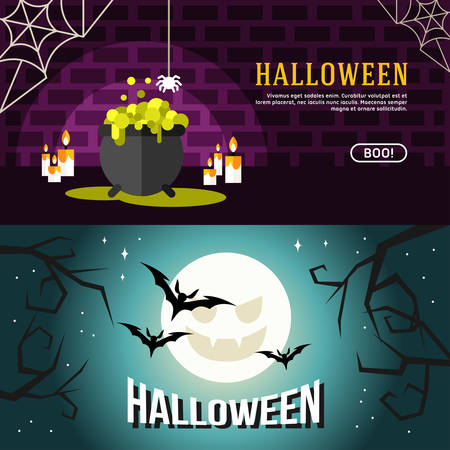 teeths: Set of Halloween Web Banners. Design Concepts for Web Banners and Promotional Materials