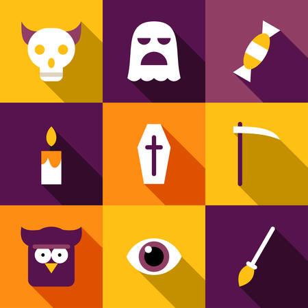 owl eye: Set of Flat Design Halloween Illustrations. Coffin, Ghost, Owl, Eye, Skull, Reaper, Broom Illustration