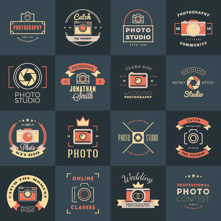 the photo: Vector Set of Photography icon Design Templates. Photography Retro Vintage Badges and Labels.  Wedding Photography. Photo Studio. Camera Shop. Photography Community Illustration