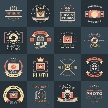 photography studio: Vector Set of Photography icon Design Templates. Photography Retro Vintage Badges and Labels.  Wedding Photography. Photo Studio. Camera Shop. Photography Community Illustration