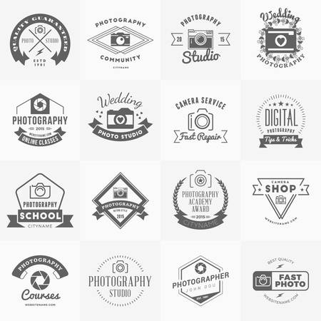 Vector Set of Photography icon Design Templates. Photography Retro Vintage Badges and Labels.  Wedding Photography. Photo Studio. Camera Shop. Photography Community Ilustração
