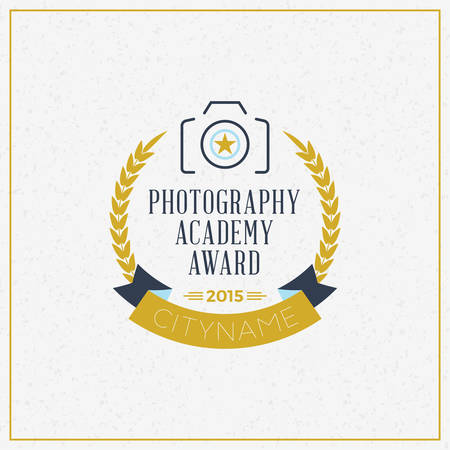 the photographer: Photography icon Design Template. Retro Vector Badge. Photography Academy Illustration