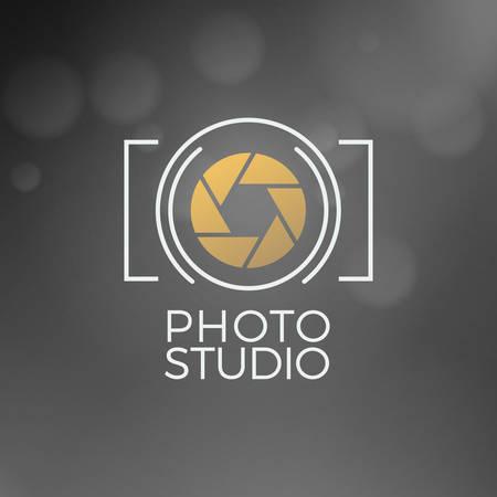 写真アイコンのデザイン テンプレート。レトロなベクトルを示すバッジ。フォト スタジオ  イラスト・ベクター素材