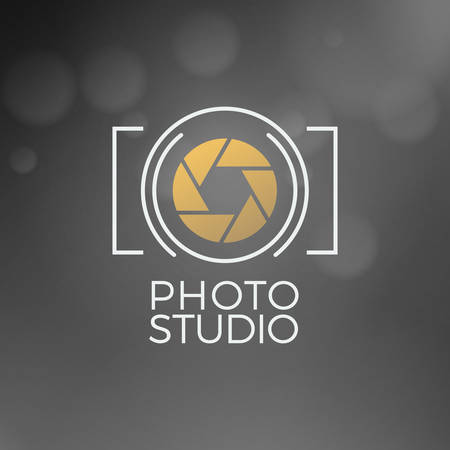 Foto pictogram Design Template. Retro Vector badge. Fotostudio