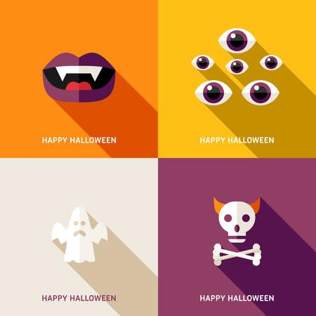 teeths: Set of Flat Design Halloween Greeting Cards. Teeths, Eyes, Ghost, Skull Illustration