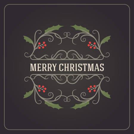 postcard background: Christmas Postcard Ornament Decoration Background. Vector Illustration. Merry Christmas Greetings Illustration