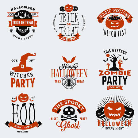 Set of Vintage Happy Halloween Badges, Stickers, Labels. Design Elements for Greetings Card or Party Flyer. Vector Illustration