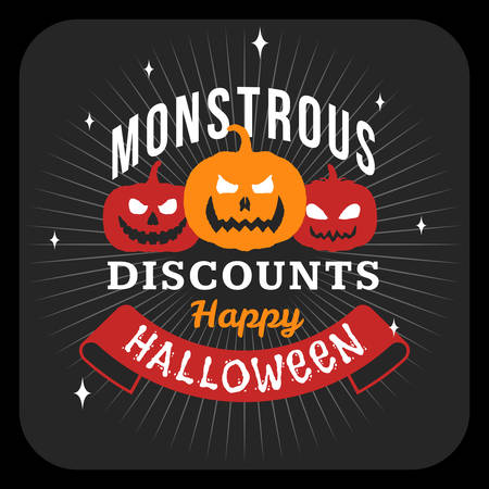 Retro Happy Halloween Badge, Sticker, Label. Design Element for Greetings Card or Party Flyer. Halloween Discounts. Vector Illustration Illustration