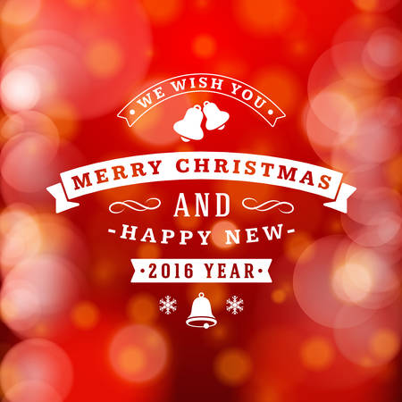 postcard background: Christmas Postcard Decoration with Vintage Typographic Badge and Colorful Blurred Background. Vector Illustration