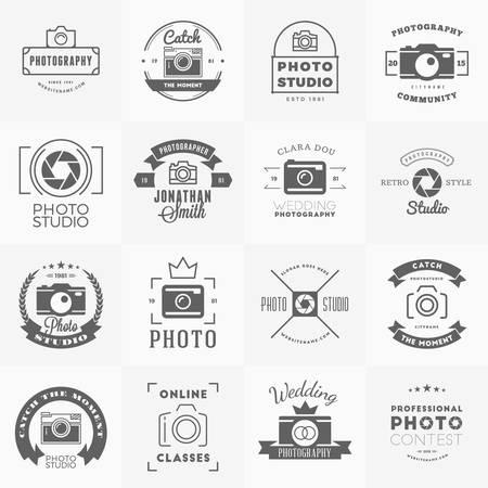 사진 아이콘 디자인 템플릿의 집합입니다. 사진 레트로 빈티지 배지 및 레이블. 웨딩 사진. 사진 스튜디오. 카메라 숍. 사진 커뮤니티 일러스트