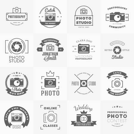 Vector Set of Photography icon Design Templates. Photography Retro Vintage Badges and Labels.  Wedding Photography. Photo Studio. Camera Shop. Photography Community 向量圖像