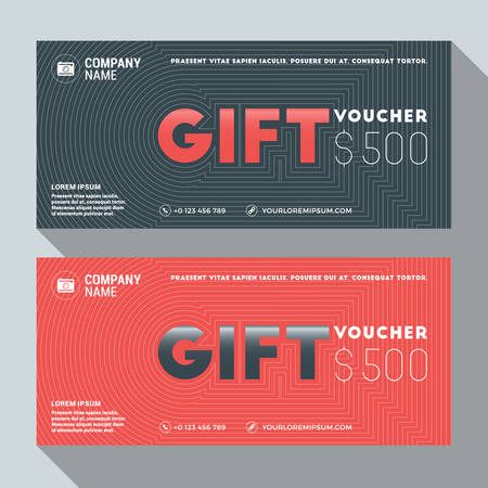 restaurant bill: Gift Voucher Vector Design Print Template. Discount Card. Gift Certificate. 2 Color Themes. Vector Illustration