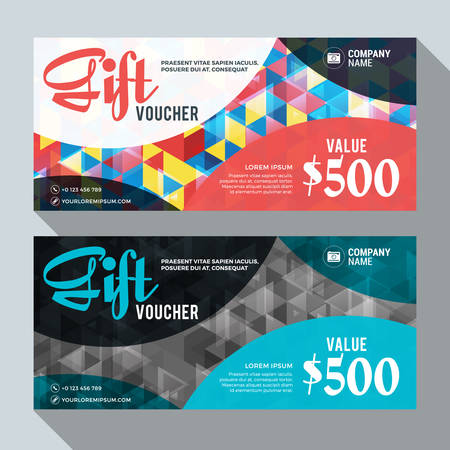 Gift Voucher Vector Design Print Template. Discount Card. Gift Certificate. 2 Color Themes. Vector Illustration Фото со стока - 45859989