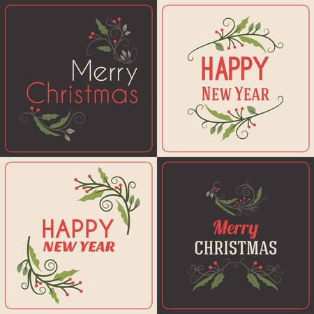 navidad elegante: Conjunto de saludos de Navidad Postal decorativa con muérdago Branch, bayas y Elementos de diseño tipográfico. Dibujado a mano ilustración vectorial