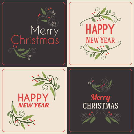retro christmas tree: Set of Christmas Postcard Decorative Greetings with Mistletoe Branch, Berries and Typographic Design Elements. Hand Drawn Vector Illustration